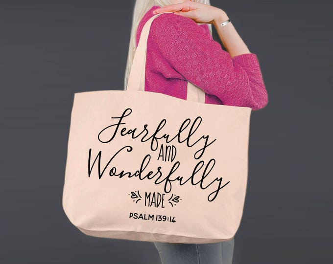 Fearfully and Wonderfully Made | Christian Gifts | Tote Bag | Canvas Tote Bag | Canvas Tote | Shopping Tote | Shopping Bag | Korena Loves