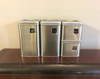1950s Vintage 1960s Mid-Century Brushed Aluminum Metal Kitchen Canisters With Retro Graphic Labels - Flour Sugar Coffee & Tea - Beauty Queen