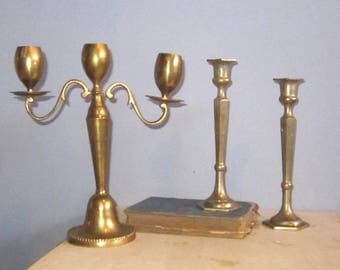 3 candle Candelabra Brass with 2 single candle Holders  - Candlabra Decorative  Romantic candlelight dinner