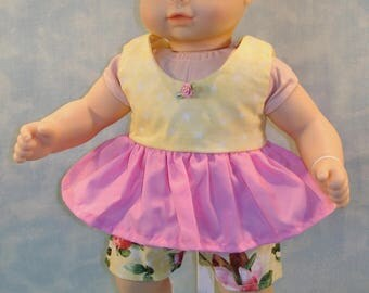 15 Inch Doll Clothes - Shorts Set Pink and Yellow Floral handmade by Jane Ellen to fit 15 inch baby dolls