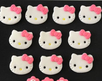 10 Hello Kitty Cat Inspired fondant cupcake toppers - as shown