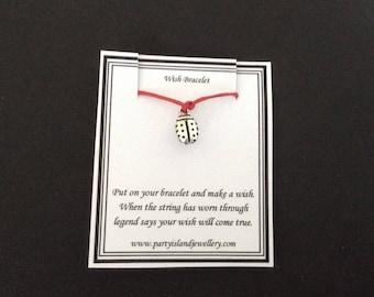 LADYBIRD LADYBUG Charm Red Friendship Bracelet on Wish Message Card
