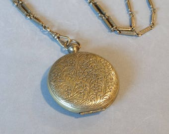 Vintage Round Gold Locket Necklace on Long Chain Pididdly Links Victorian FOB Style Unique Victorian Reproduction Jewelry