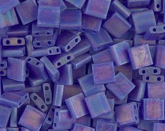 Miyuki Matte Transparent Cobalt AB Tila 2 Hole Beads -4365- Matte Transparent Cobalt AB - - Color number TL-151FR - 10 Grams
