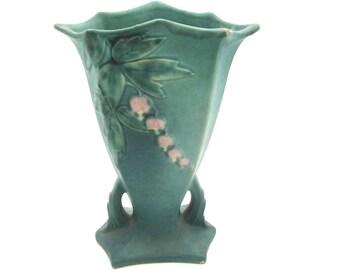 Roseville bleeding heart 1938 8 inch vase art pottery