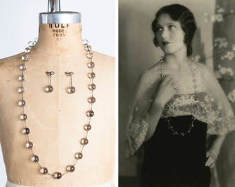 """RARE Authentic 1920s Pools of Light Sterling Necklace and Earring Set // 36"""" // Flapper Length // Art Deco // Undrilled Rock Crystal Orbs"""