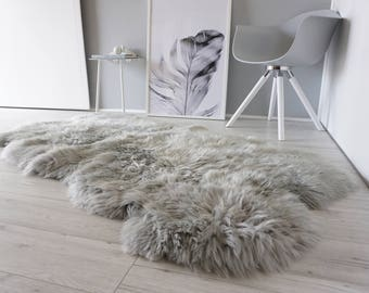 Genuine Quad Natural Sheepskin Rug - Extremely soft wool - Dyed Grey | Silver | Ash | Tan Mix  - QN 18