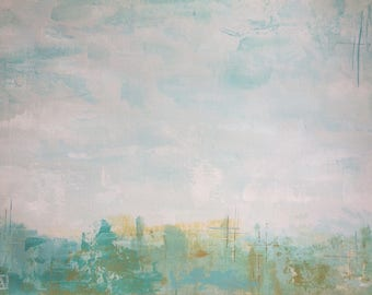 Original Fine Art Abstract Landscape Acrylic Painting Wall Art on Paper 9 x 12 inches aqua white