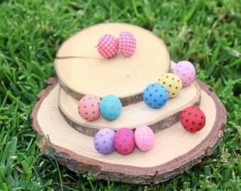 Polka Dot Earrings   Fabric Studs   Polka Dot Jewelry   Titanium Studs   Hypoallergenic Studs   Button Earrings   Dot Stud Earrings