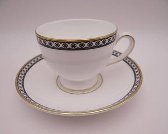 "Vintage Wedgwood English Bone China ""Ulander"" Black Teacup and Saucer Set - R4407 - 7 Available"
