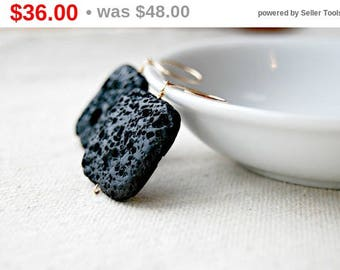 CIJ SALE** molten... gold lava rock earrings / black square porous lava rock & 14k gold filled earrings