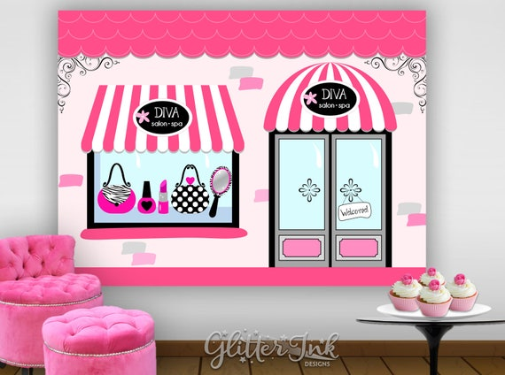 chic boutique diva glam spa party printable poster dessert table backdrop photo prop wall art. Black Bedroom Furniture Sets. Home Design Ideas