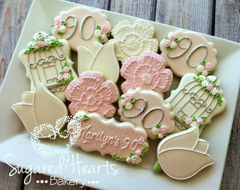 Floral Pink and Silver Birthday Cookies - 1 Dozen