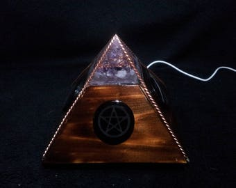 Orgonite Pyramid Night Light with copper, crystals and a pine base with a light up Wolf/Moon,Pentacle and Cat/Moon plaque,wicca, pagan light