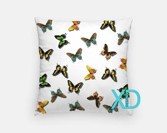 Butterfly Pillow, Monarch Pillow Cover, Butterflies Pillow Case, White Pillow, Artistic Design, Home Decor, Decorative Pillow Case, Sham
