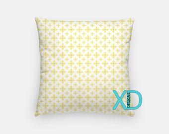 Pale Yellow Pillow, Petals Pillow Cover, Daisy Pillow Case, White, Yellow Pillow, Artistic Design, Home Decor, Decorative Pillow Case, Sham