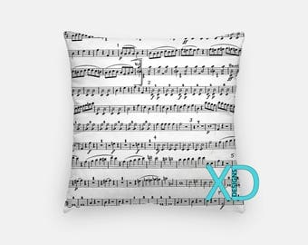 Sheet Music Pillow, Song Pillow Cover, Musical Pillow Case, White, Black Pillow, Artistic Design, Home Decor, Decorative Pillow Case, Sham