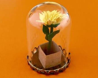 Paper Tiny Plant, Miniature Paper Flower Terrarium, Paper Plant Terrarium,1st Anniversary, Miniature Paper Flower, Anniversary Gift