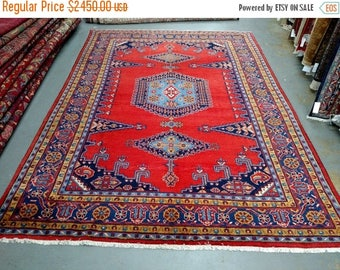 SUMMER CLEARANCE 1990s Hand-Knotted Room-Sized Wiss/Viss Persian Rug (3552)