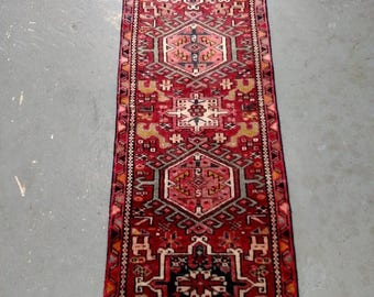 SUMMER CLEARANCE Persian Rug - 1950s Hand-Knotted Karaja Rug Runner (3701)