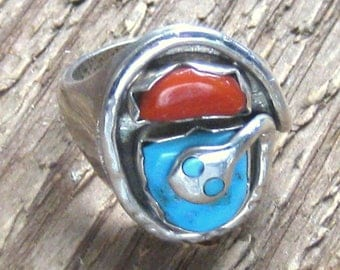 Turquoise Ring, Sterling Silver Ring, Vintage Rings, Southwestern Jewelry,  Bohemian Jewelry, Native Ring, Snake Ring, EFFIEC