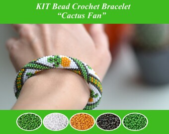 KIT Bead Crochet Bracelet Bead Crochet Rope Pattern Jewelry Making Kit Crochet Necklace Beaded Necklace DIY Cactus Fan Gift