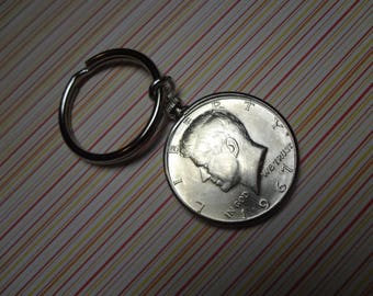 1967 Mens Silver Kennedy Half Dollar Keychain Key Ring Birthday Gift Anniversary Coin Token Collection Collector Keyring Sale Keys Gift Mens