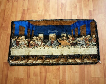 Vintage Jesus Last Supper Tapestry. Retro Religious Christian Wall Hanging. Boho Last Supper Jesus Home Decor. Shabby Chic Vintage Tapestry