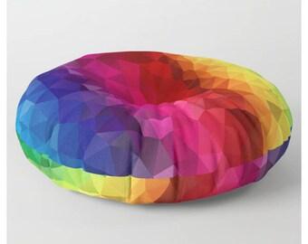 Round Floor Pillow Rainbow Floor Pillow Colourful Floor Cushion Multicoloured Floor Pillow Square Floor Pillow Pouf Cover Poufs for Sitting