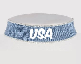 Fourth of July Choker - America Necklace - USA Jewelry - Monogrammed Jewelry - Denim Choker - Fourth of July - Choker - Choker Necklace