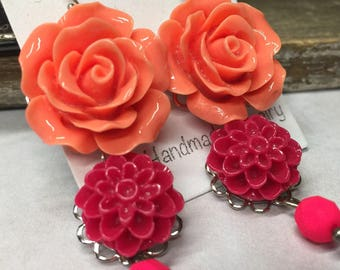 Red and Orange Flower Dangle Earrings