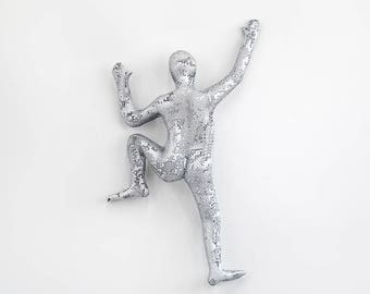 Climbing man sculpture, wire mesh sculpture, Hanging sculpture, Modern metal art - Silver