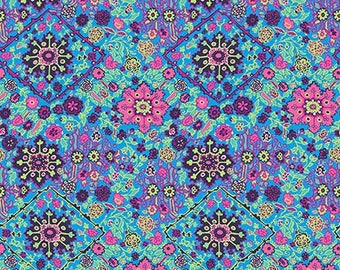 Amy Butler Inner Vision in Marine by Free Spirit Fabrics Soul Mate Cotton Poplin Fabric Blue Floral Pink Floral Modern Quilt Fabric Flowers