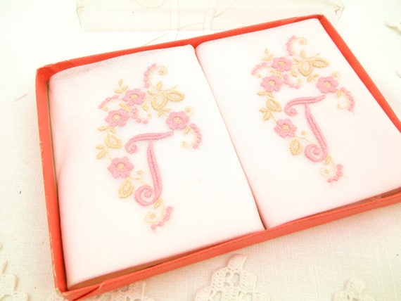 Vintage Unused Box of 2 Pink Cotton Handkerchiefs Embroidered with Monogram J and Flowers Made in Switzerland, Swiss Made Hankies
