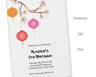 Japanese Invitations Etsy - Birthday invitation in japanese