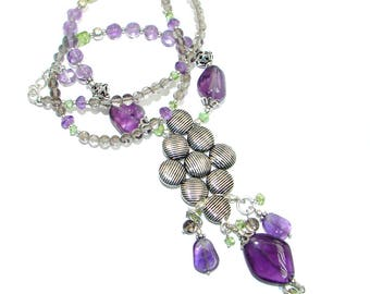 Amethyst, Peridot, Smoky Topaz Sterling Silver Necklace - weight 26.00g - dim 3 1 4 inch - code 16-sty-17-8