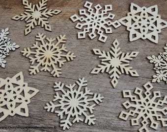 3 inch Snowflake Wooden Christmas Ornaments - 10 pack Style MIX -  DIY Wood Christmas Crafts Ornament Making Supplies