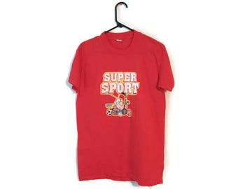 Vintage 80S 1981 ZIGGY Red Super Sports Tom Wilson Tee t-shirt size M/L
