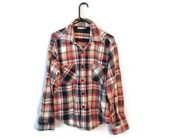 SEARS vintage Plaid red blue Shirt size Large L