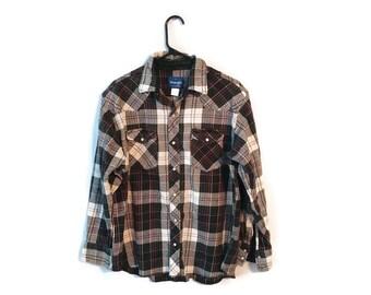 Wrangler Plaid Western shirt size XL Mens Black white Pearl Snap