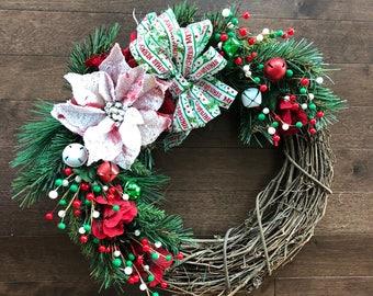Christmas Wreath, Christmas Wreath with Bow, Christmas Wreaths for Front Door, Holiday Wreath, Holiday Wreaths for Front Door
