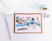 London Map Postcard - London Map Illustration - London Art Print - London Map Print - London Illustrated Map - Hand Lettered