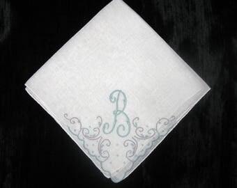 Initials Handkerchiefs Letter B Monogramed Wedding Hankies Bridal Vintage