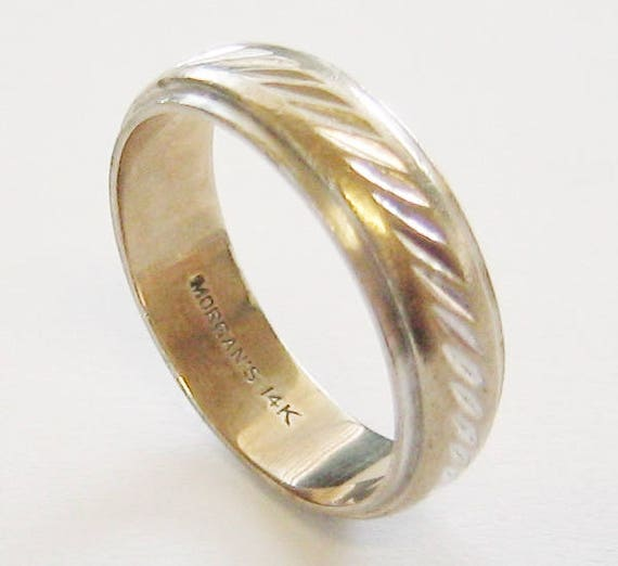 Vintage...14K Solid White Gold, Unisex Wedding Band/Ring...Made By: Morgan's Jewelry Company.