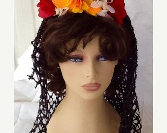 LUCKY SALE - Day of the Dead Veil, Dia de los Muertos, Halloween Costume, Accessory, Headband, Flower Crown, Goth Veil