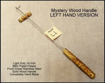 Mystery Wood  BBQ / Grilling Meat Hook, Stainless Steel Flipper, Pig Tail Tool Left Hand Version