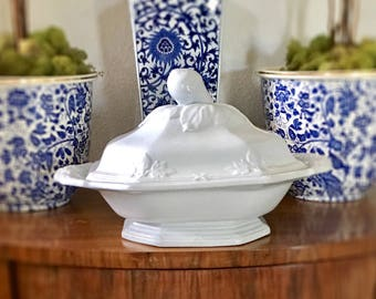 Rare Antique Ironstone Tureen, Wedgwood Collectible Fig Shape, Octagonal, Embossed Handles, Fig Finial, Early Ironstone 1856