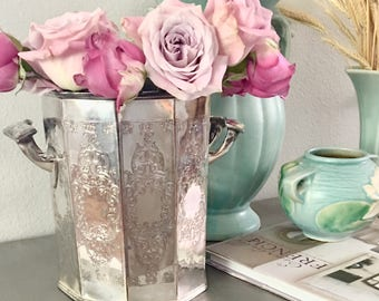 Vintage Silver Plate English Sheffield Ice Bucket, Champagne, Ten Panels, Silver Plate over Copper, Lovely Patina, Shabby Chic, Paris Apartm