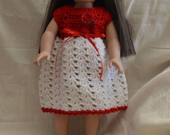 """Crocheted Red Doll Dress and Red Shoes for 18"""" Doll"""