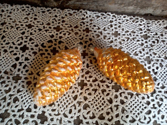 Pine Cone Tree Ornaments, Set of 2, Christopher Radko, Glass Pine Cones, Holiday Ornament